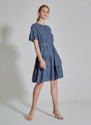 People By Fabrika Bağlama Detaylı Volanlı Elbise İndigo
